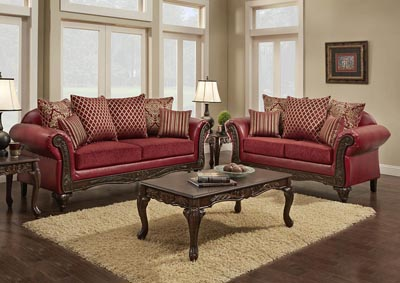 Just Furniture Red Chenille Sofa w/Pillows