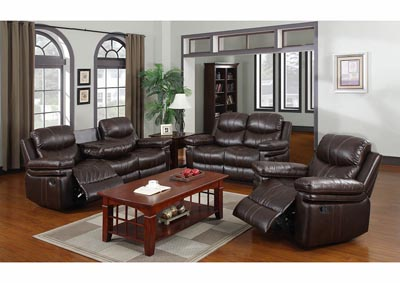 Espresso Bonded Leather Double Reclining Sofa