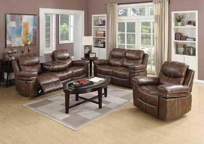 Weathered Brown Bonded Leather Double Reclining Sofa