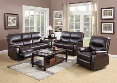Espresso Leather Look Double Reclining Sofa