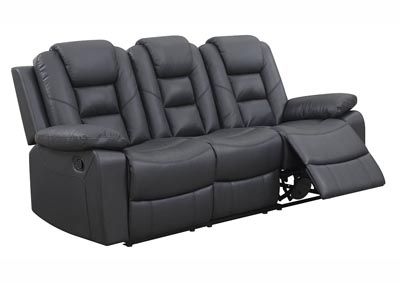 Black Leather Double Reclining Sofa