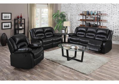 Black Bonded Leather Double Reclining Sofa