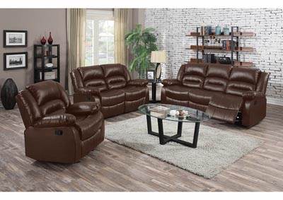 Brown Bonded Leather Double Reclining Sofa