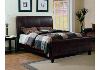 Brown Upholstered Sleigh King Bed