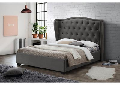 Gray Linen Upholstered Full Bed