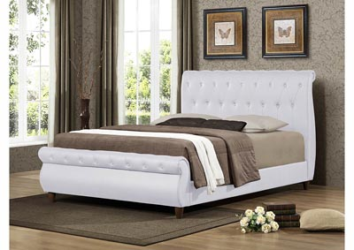White Upholstered Sleigh Full Bed