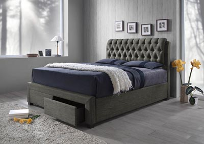 Gray Linen Upholstered Storage King Bed