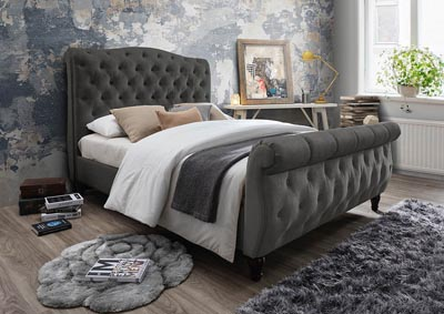 Gray Linen Upholstered Sleigh Full Bed
