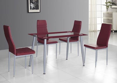 Red Upholstered Dining Chair (Set of 2)