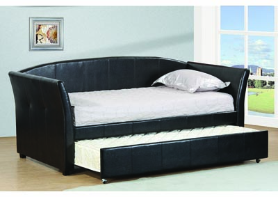 Image for Black Upholstered Twin Trundle Daybed