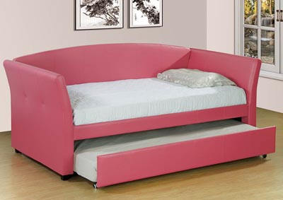 Pink Upholstered Twin Trundle Daybed