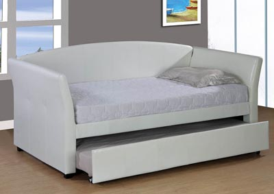 White Upholstered Twin Trundle Daybed
