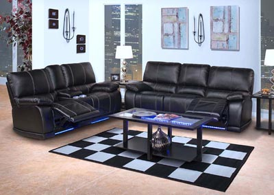 Image for Electron Black Power Recliner Sofa