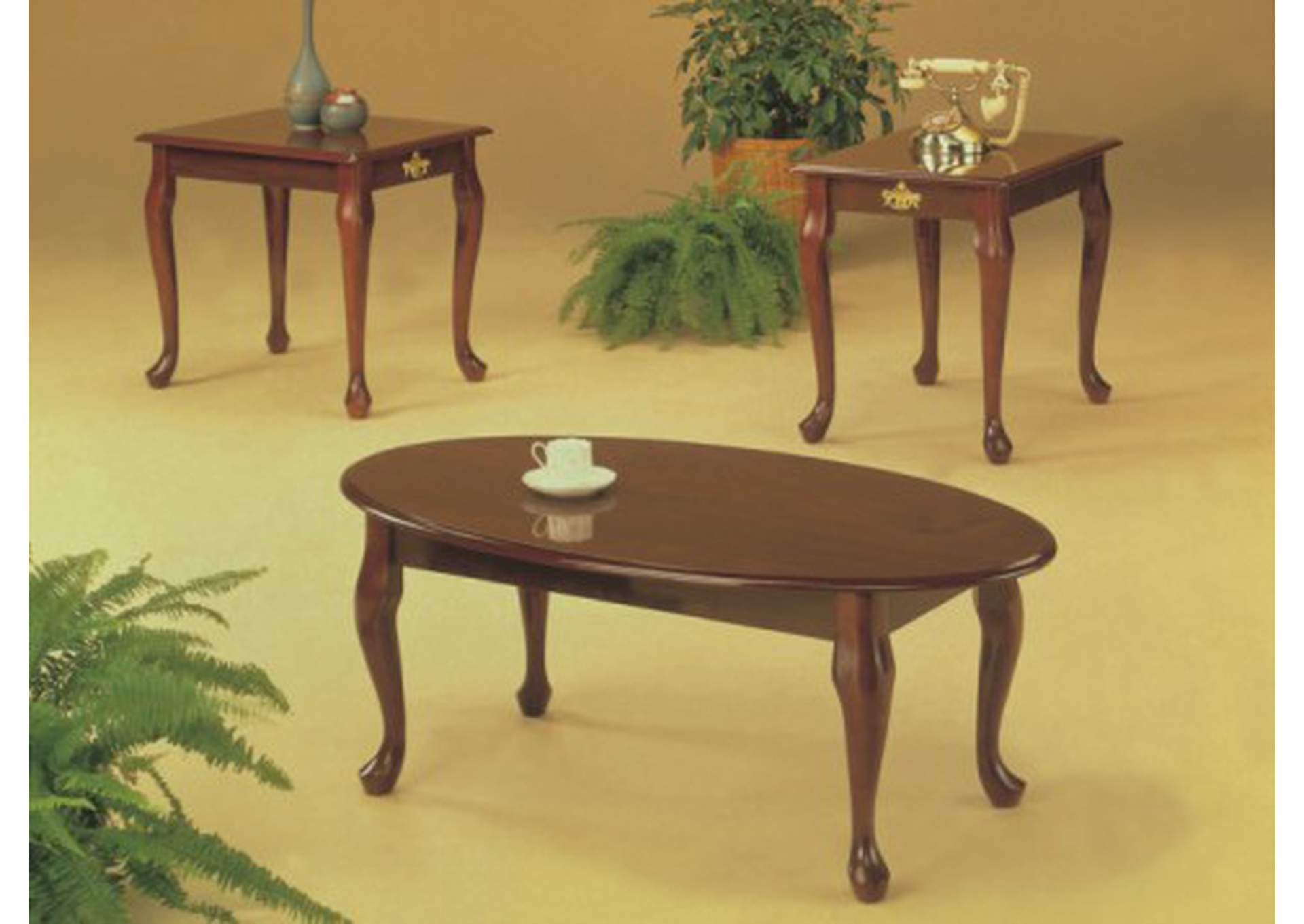 3Pc Cherry Queen Anne Coffee U0026 End Table Set,Global Trading