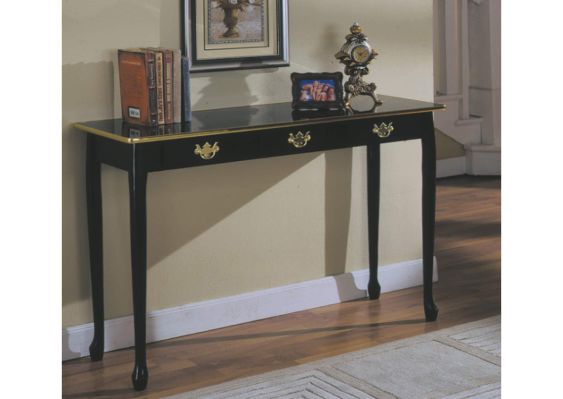 Black Queen Anne Sofa Table ,Global Trading