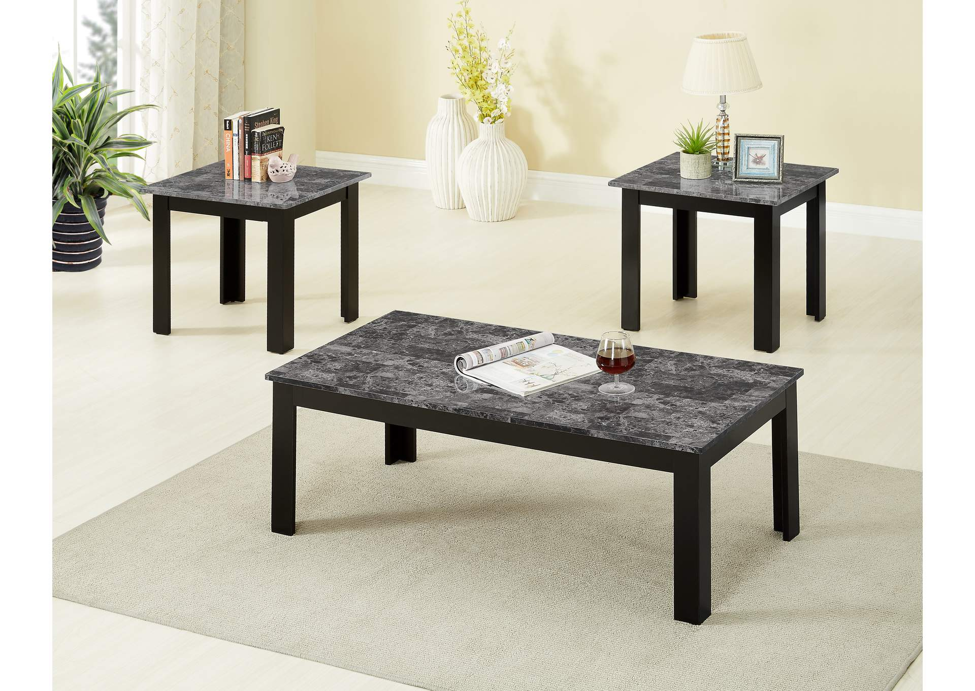 Superbe 3 Piece Espresso Faux Marble Top Coffee End Table Set,Global Trading