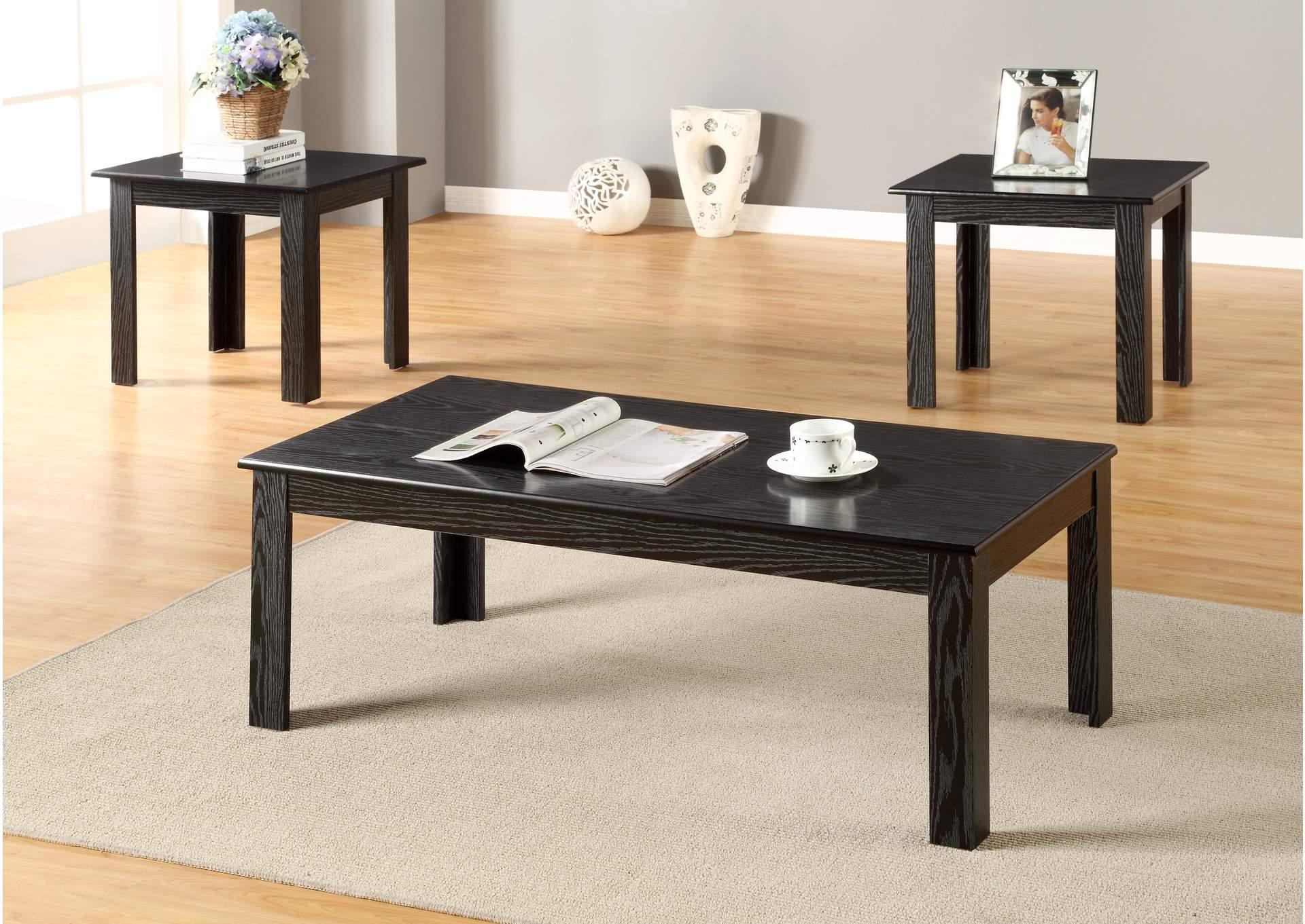 Furniture Hub Pc Black Parquet Cocktail End Table Set - Cocktail end table sets