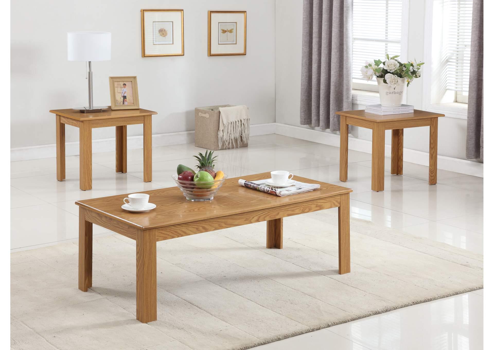 Big Als Furniture Pc Oak Parquet Cocktail End Table Set - Cocktail end table sets
