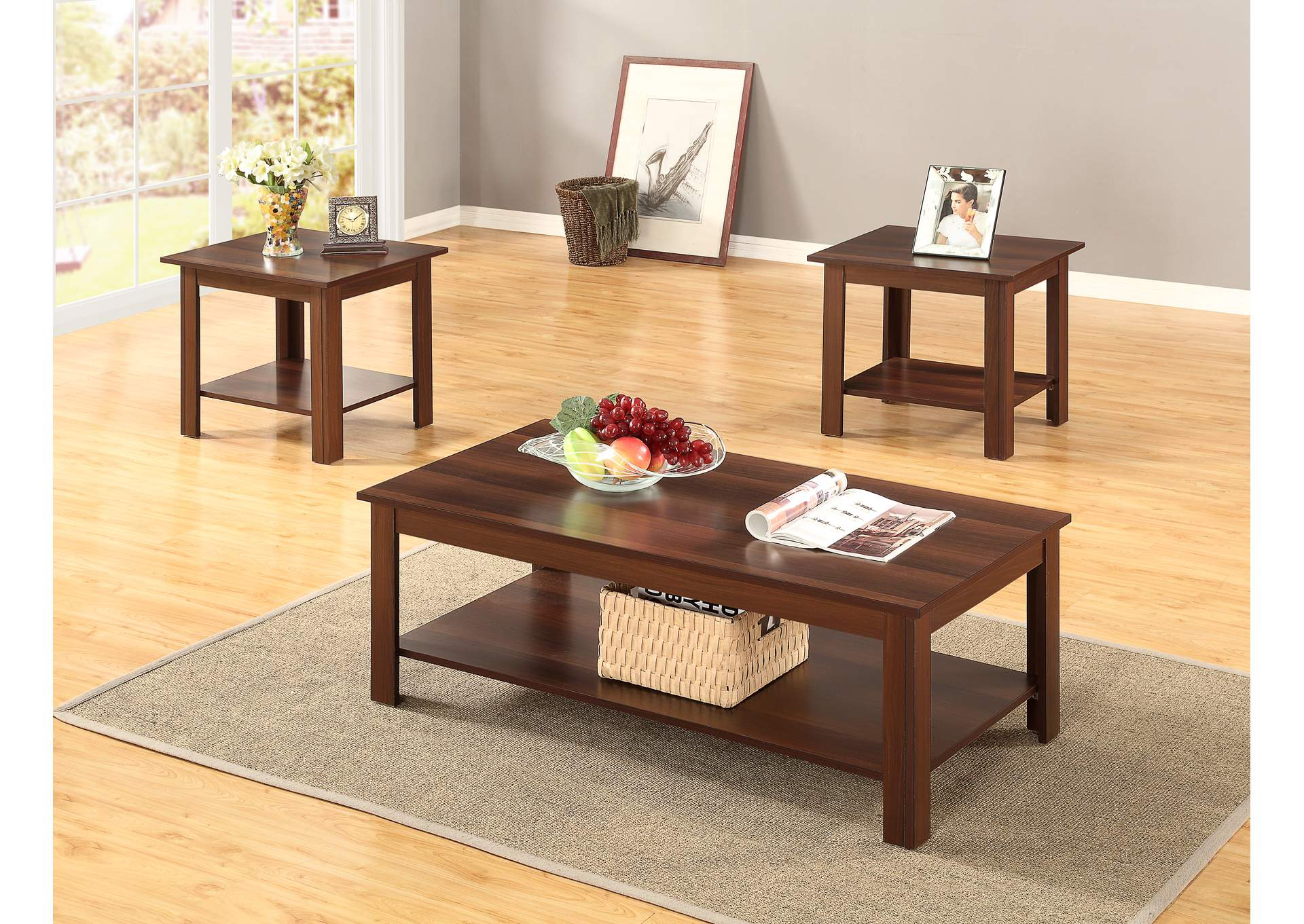 Big Al S Furniture 3pc Dark Oak Coffee End Table Set