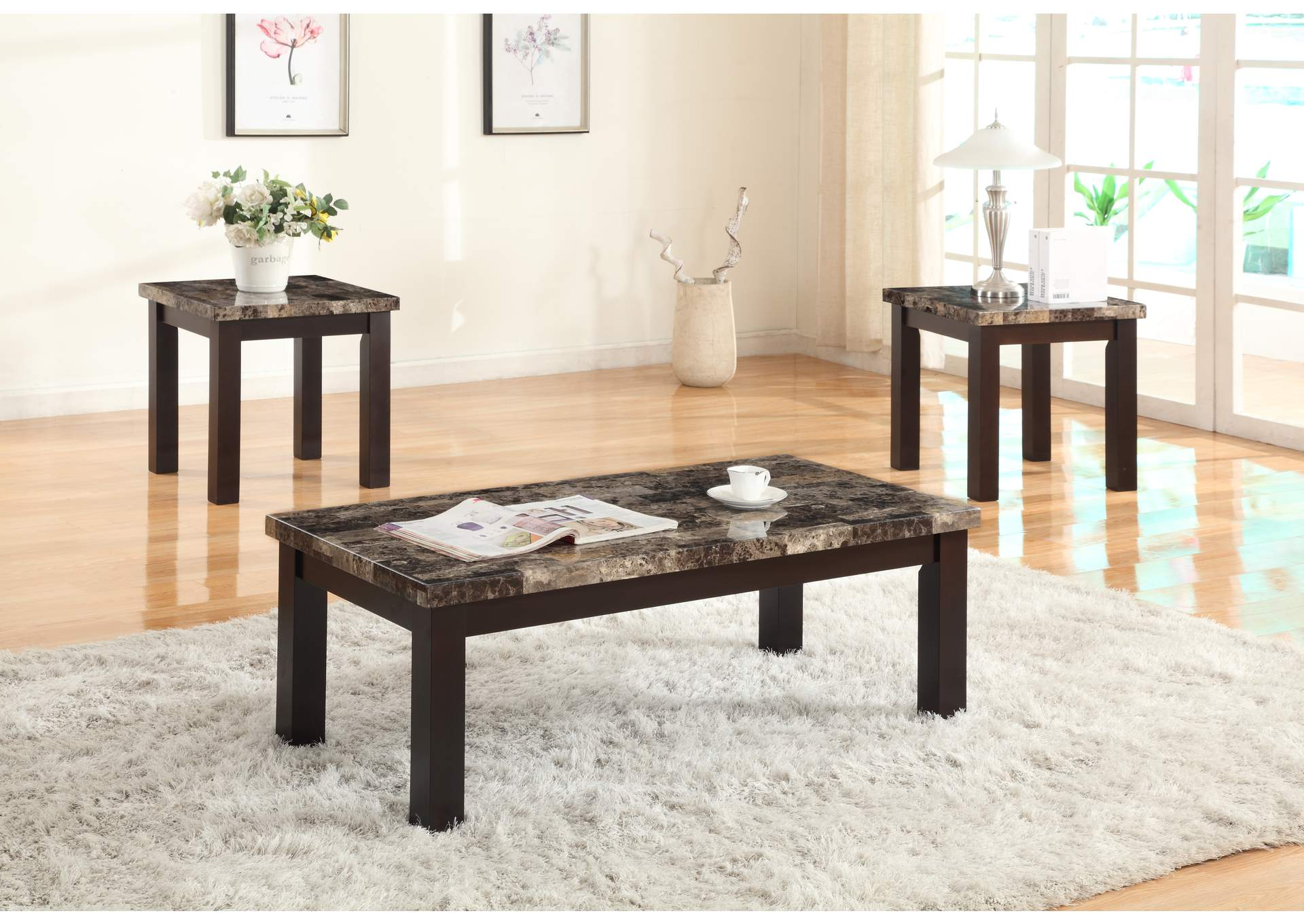 Brown 3 Piece Faux Marble Coffee & End Table Set,Global Trading