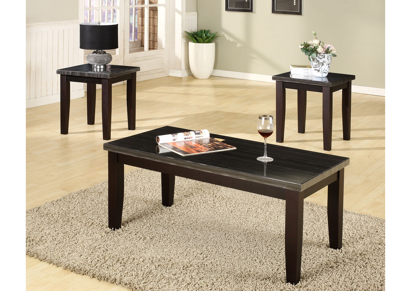 Black 3 Piece Faux Marble Top Coffee & End Table Set,Global Trading