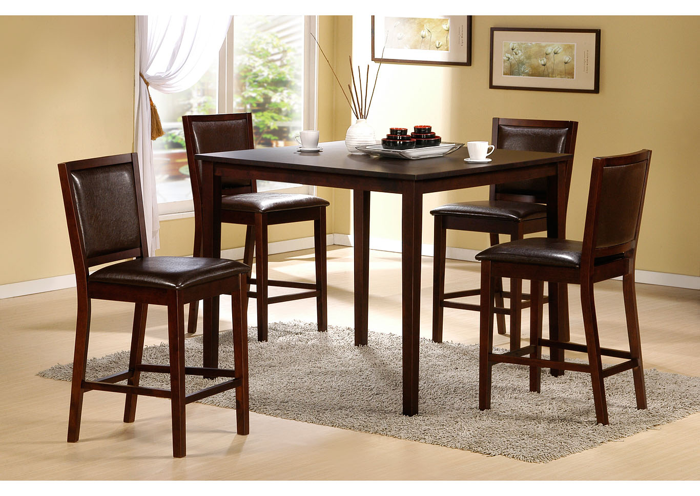 roses flooring and furniture 5pc counter height set espresso