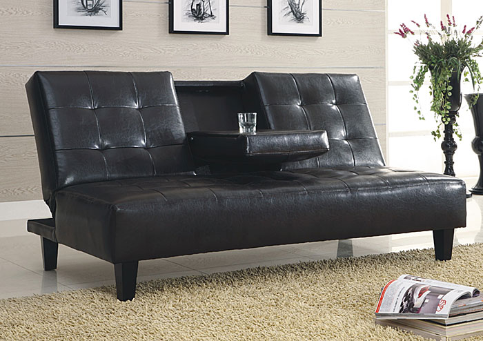Black Faux Leather Sofa Bed,Global Trading