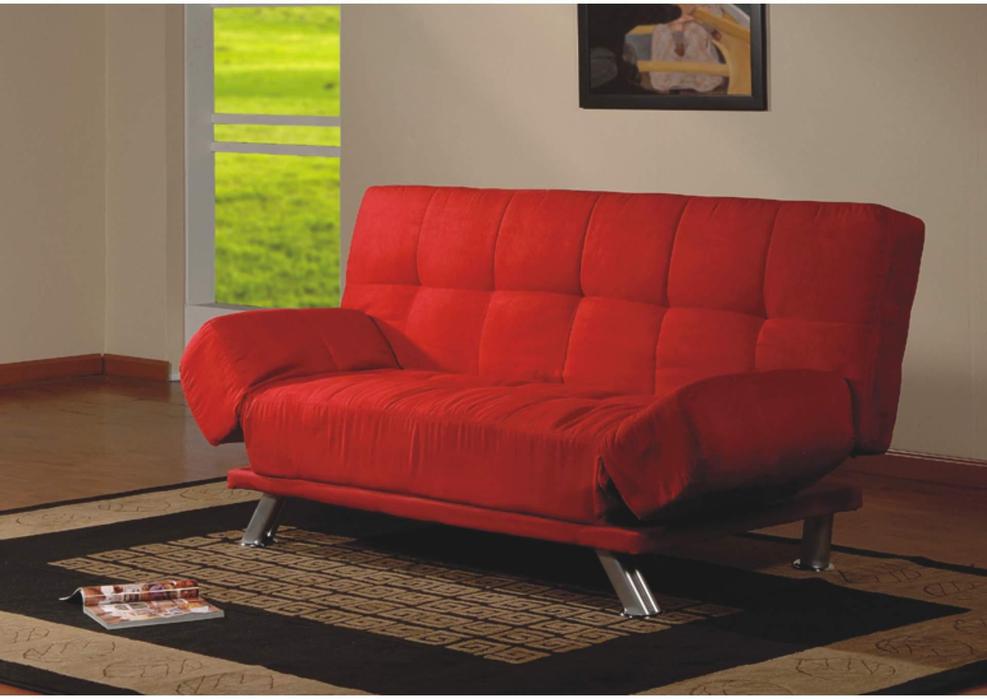 17919 Red Microfiber Sofa Bed