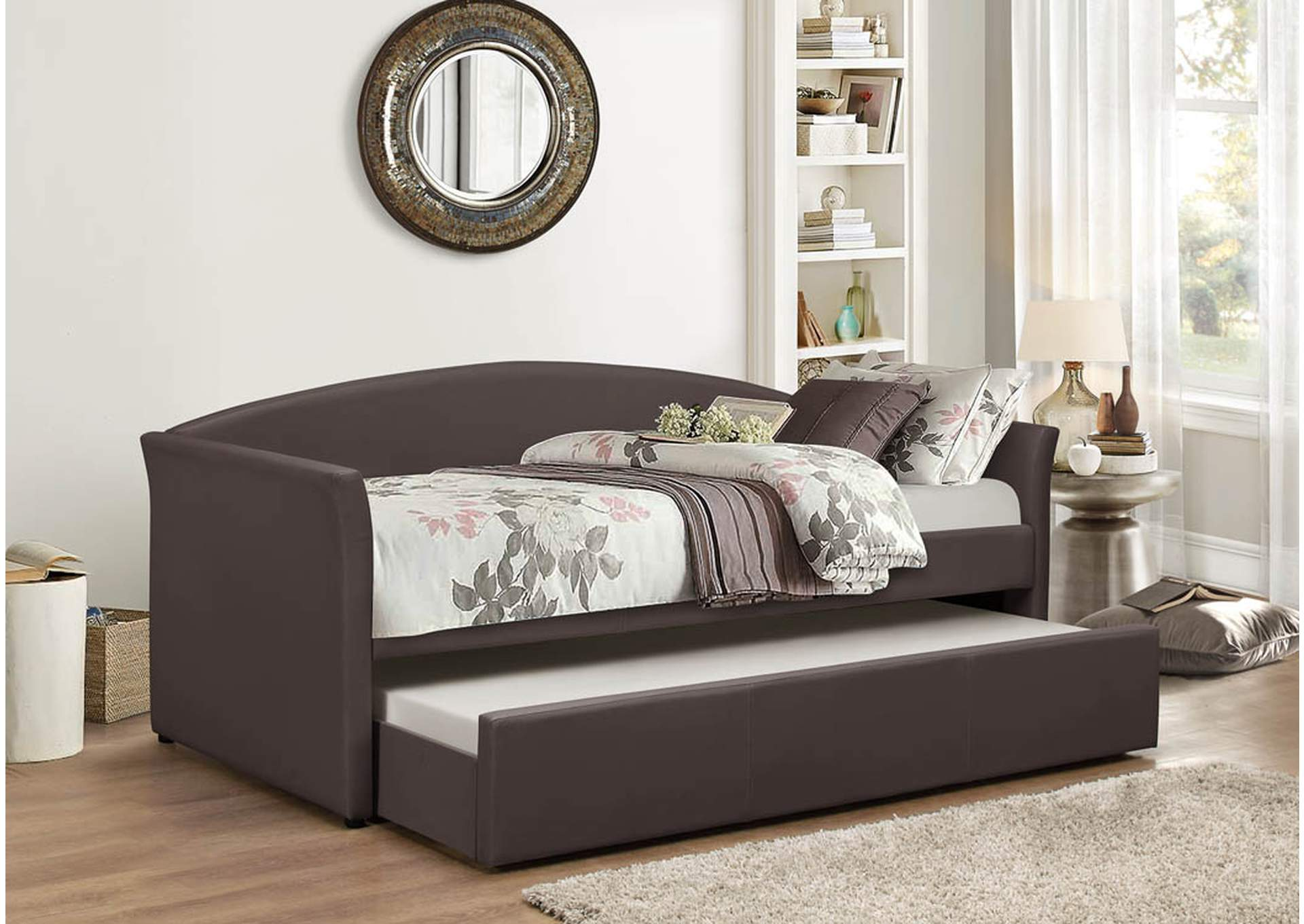 Brown Pu Day Bed w/Trundle and Slats,Global Trading