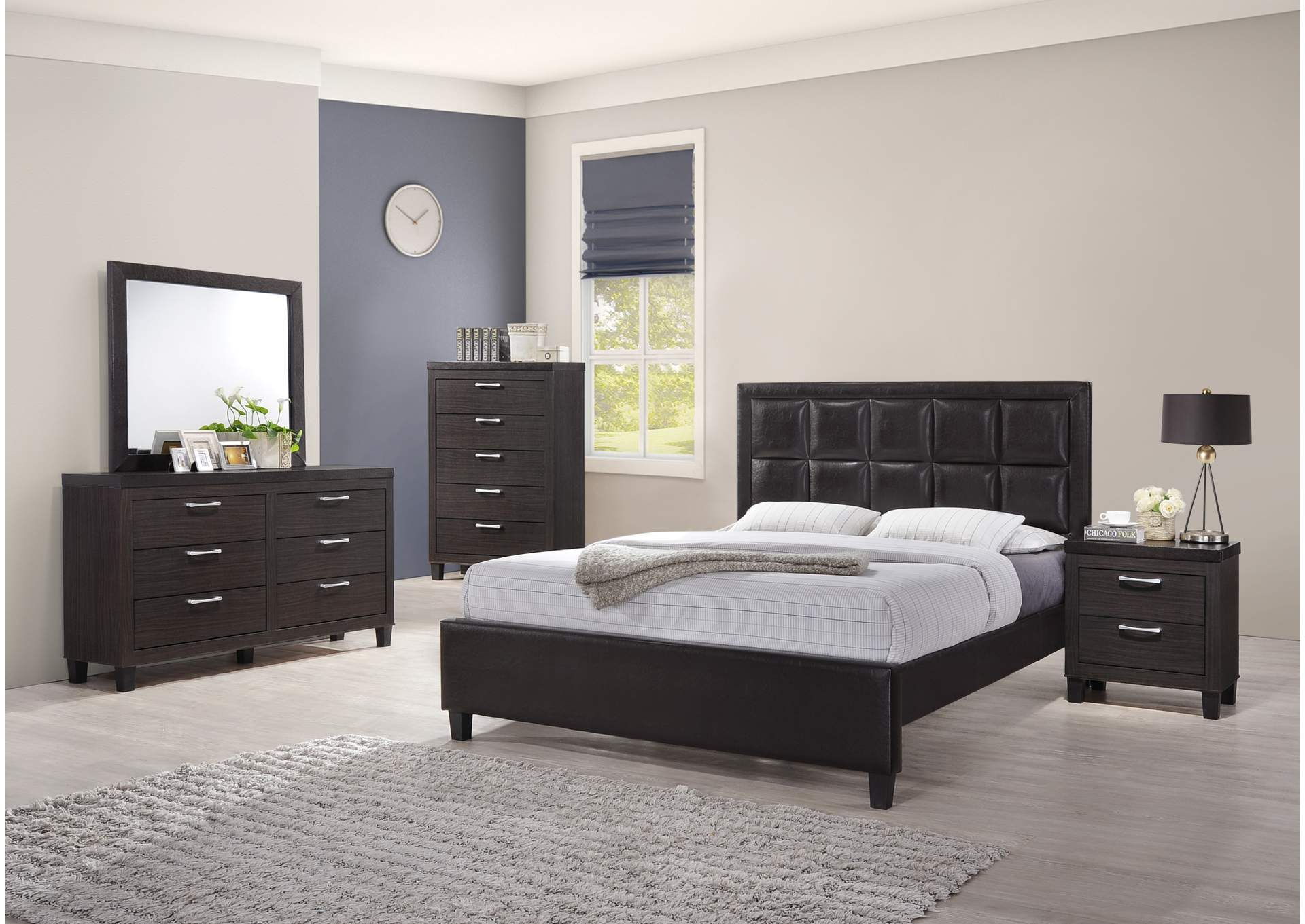 Dark Grey Panel Queen 5 Piece Bedroom Set W/ Nightstand, Chest, Dresser & Mirror,Global Trading