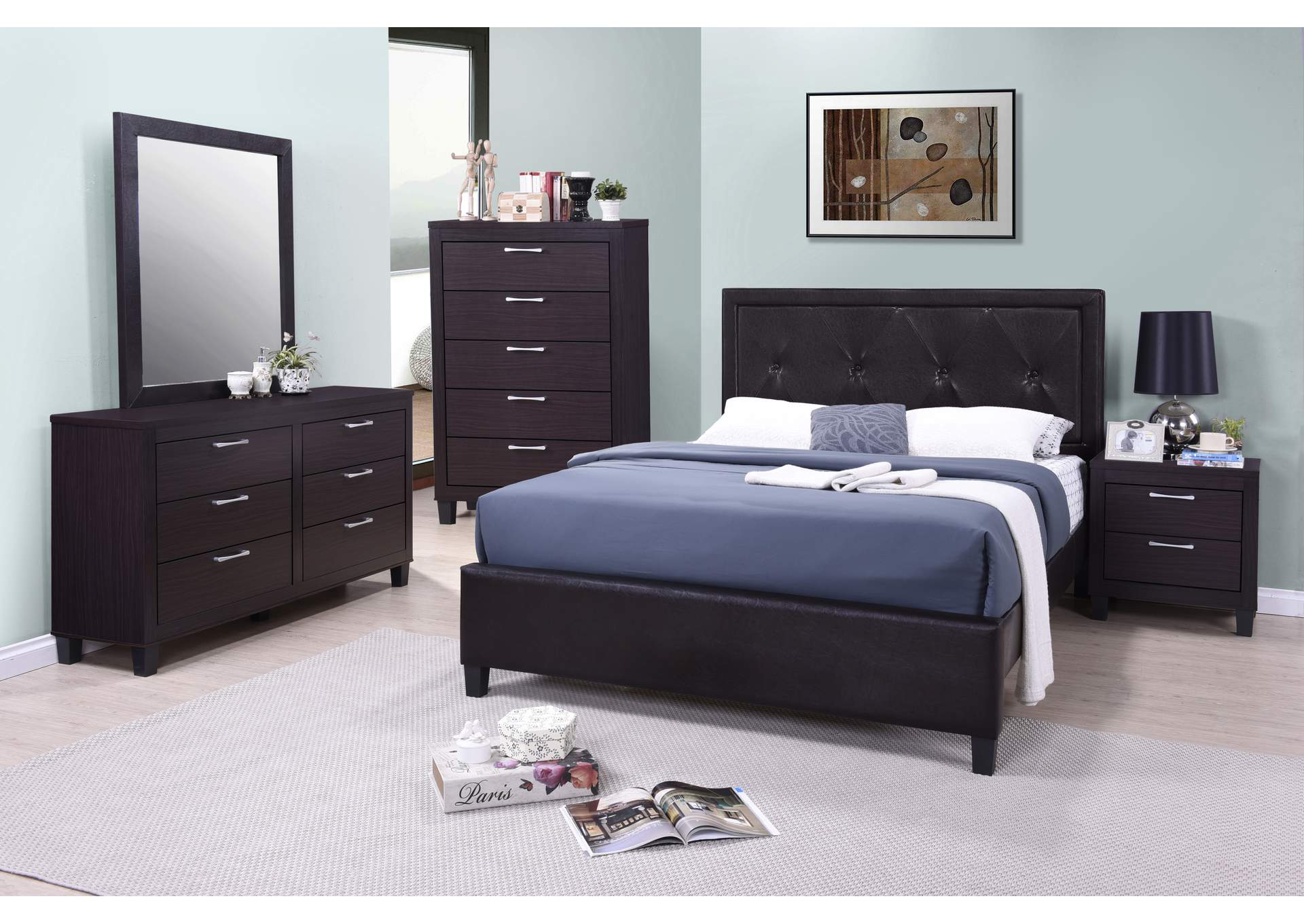 Tripton Dark Grey Panel King Bed,Global Trading