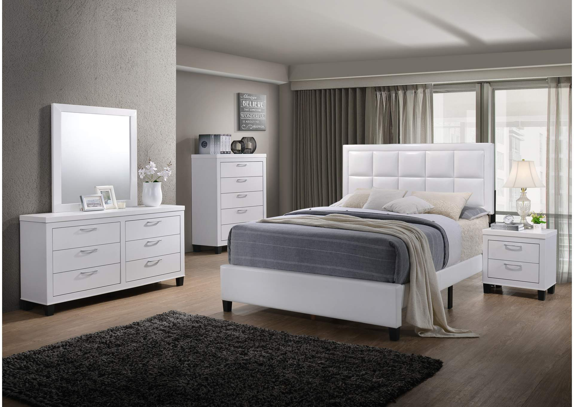 White PU Twin Bed,Global Trading