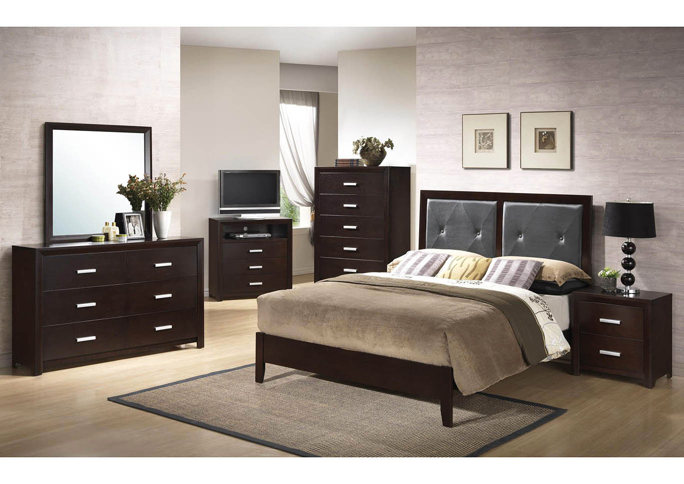 4 Piece Cappuccino Panel Bedroom Set,Global Trading