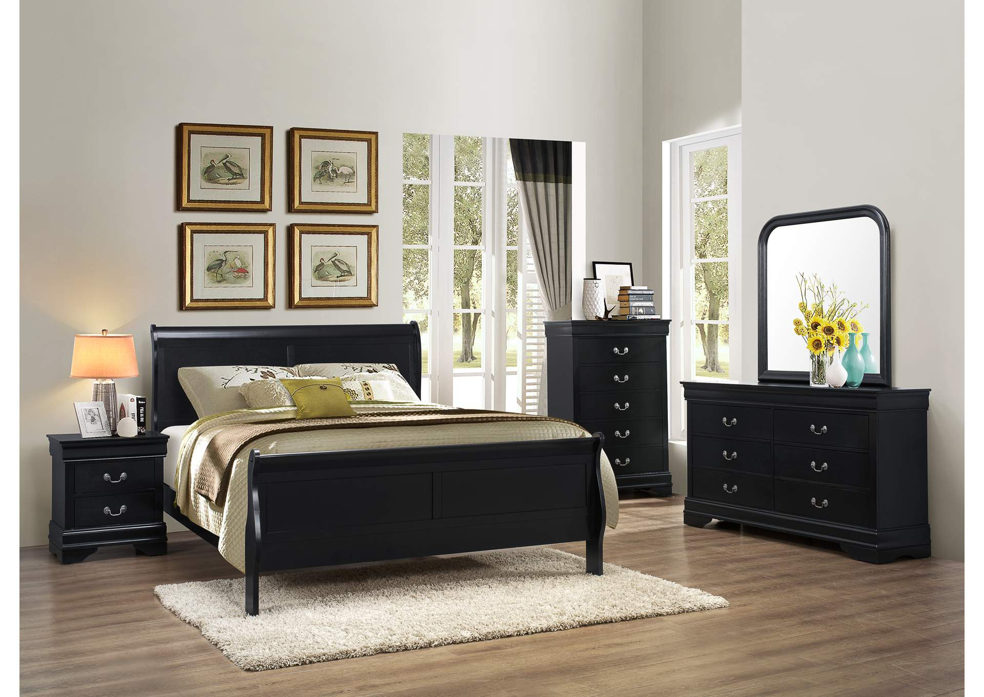 Black Sleigh Queen 4 Piece Bedroom Set W/ Chest, Dresser & Mirror,Global Trading