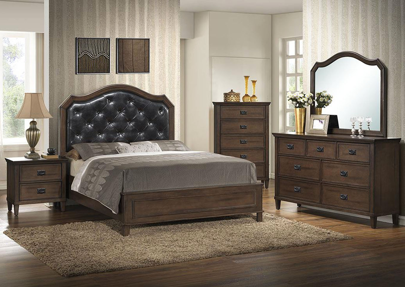 Brown Panel Queen 4 Piece Bedroom Set W/ Chest, Dresser & Mirror,Global Trading