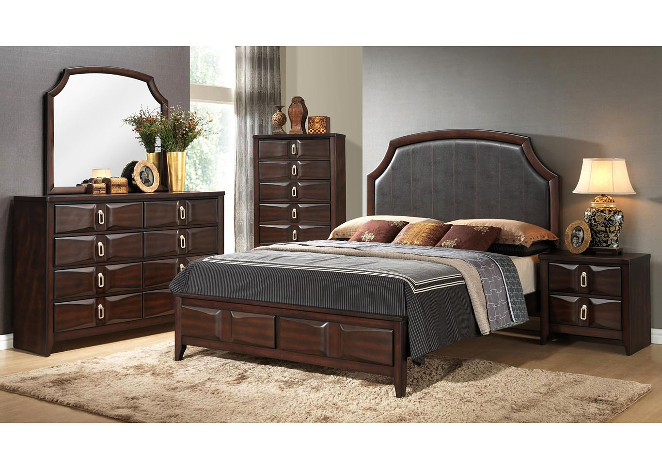 Brown Storage Queen 4 Piece Bedroom Set W/ Chest, Dresser & Mirror,Global Trading