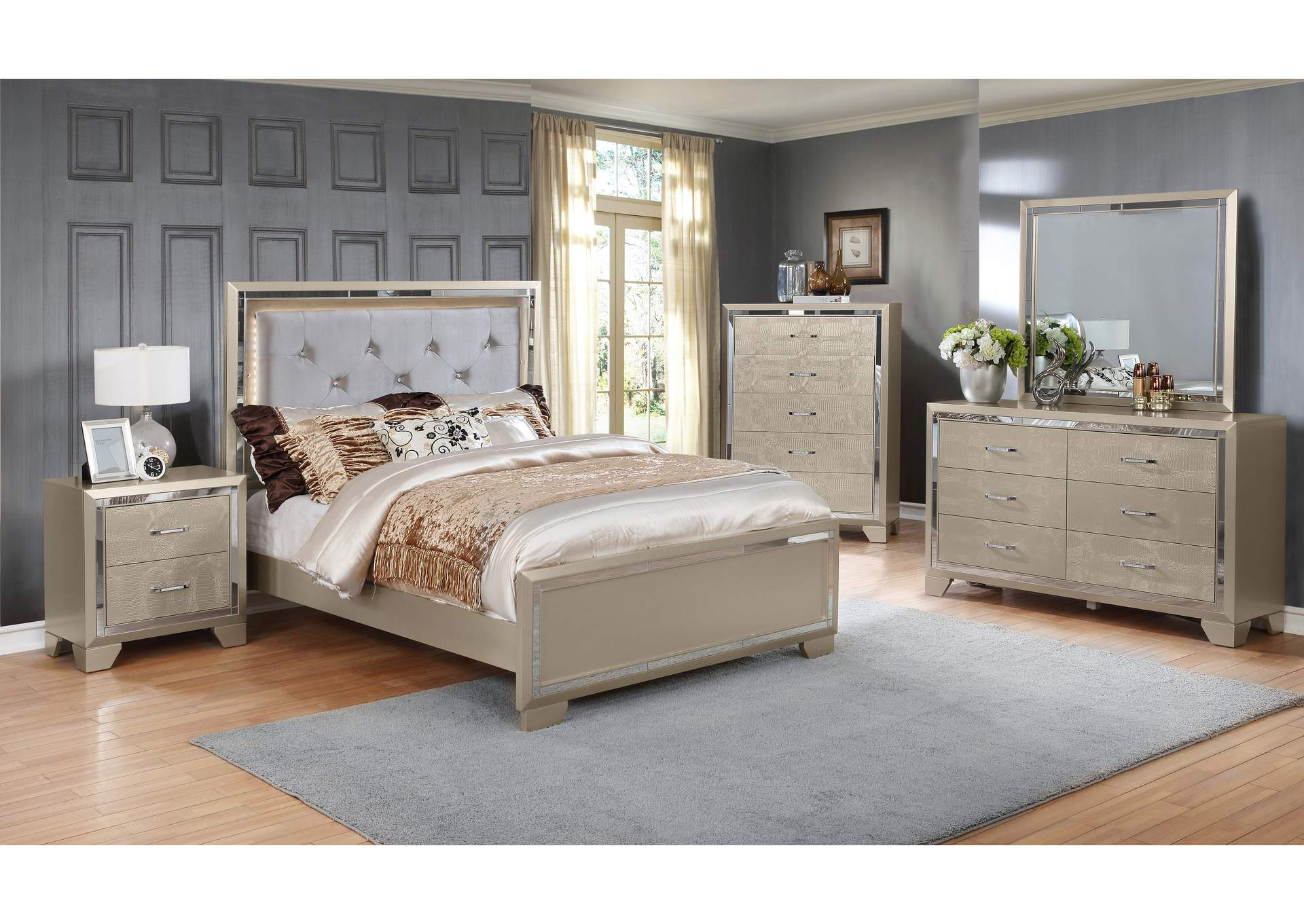 Rozzelli Pearl Panel Queen 5 Piece Bedroom Set W/ Nightstand, Chest, Dresser & Mirror,Global Trading
