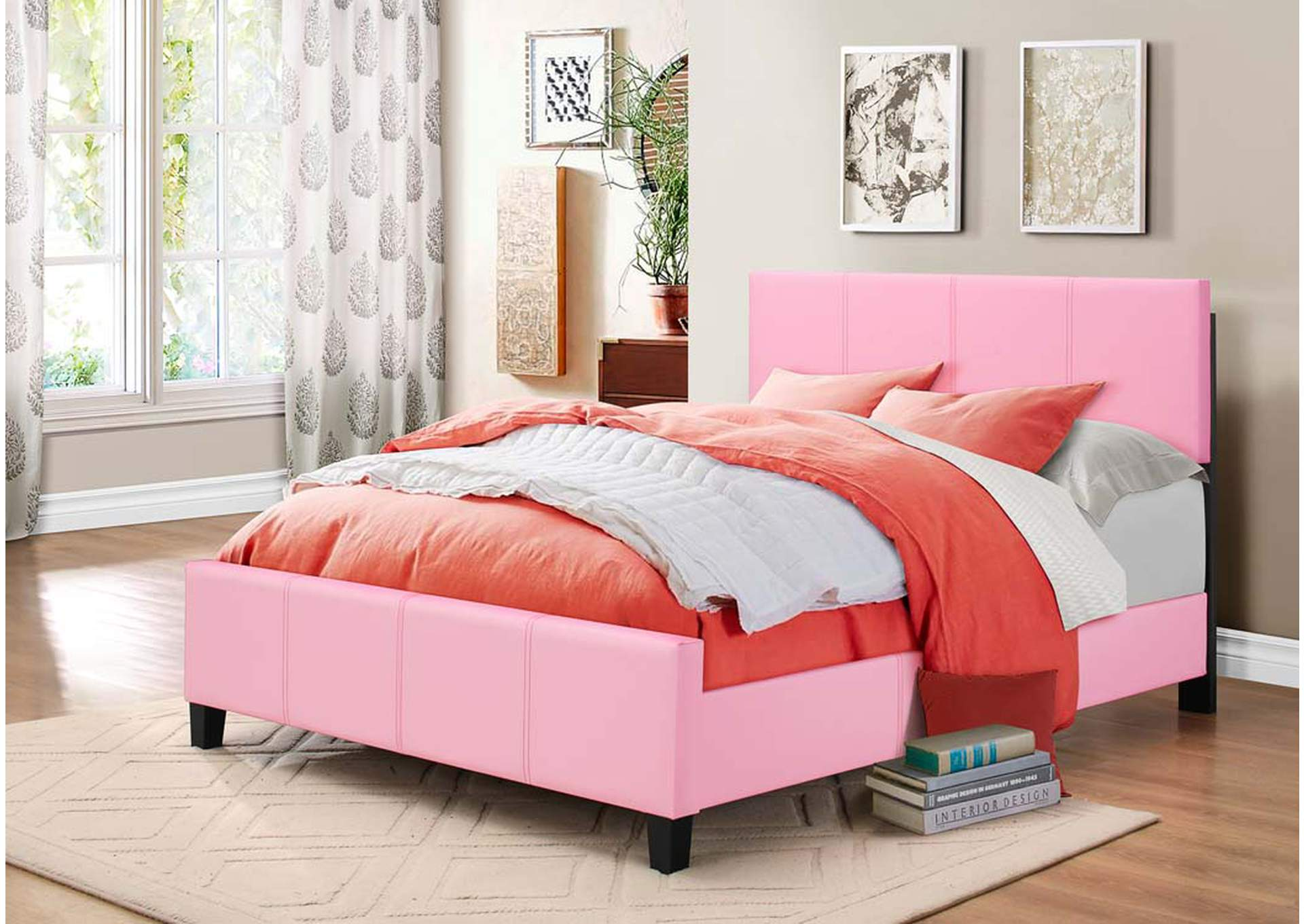 Coralayne Pink Panel King Bed,Global Trading