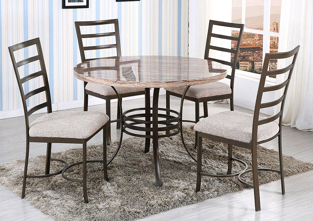 Big Als Furniture Round Faux Marble Dining Table
