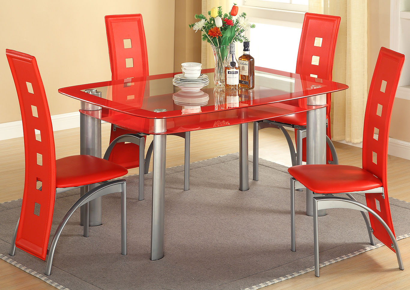 Red Edge Glass Top Dining TableGlobal Trading
