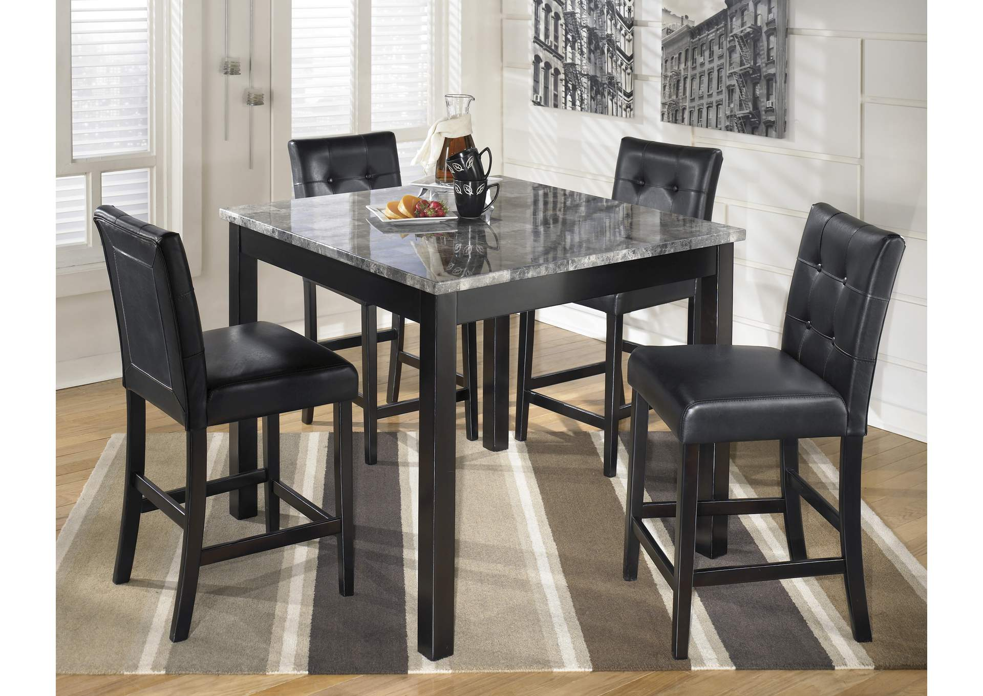 Rotana Furniture Grey Black Pub Table