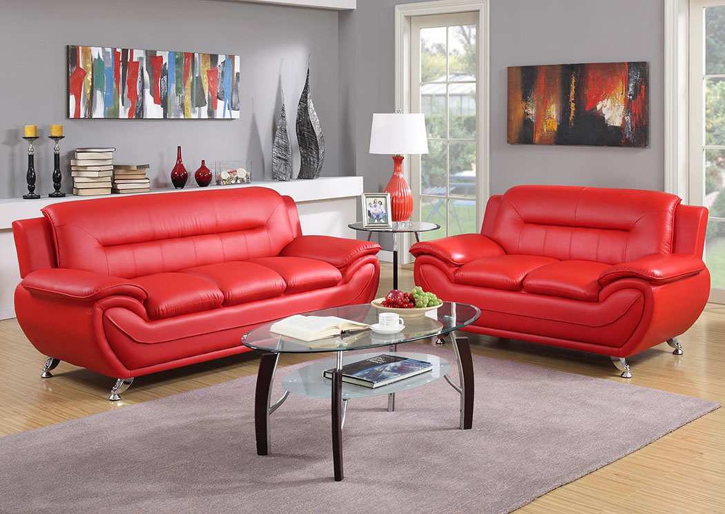 Red Sofa & Loveseat,Global Trading