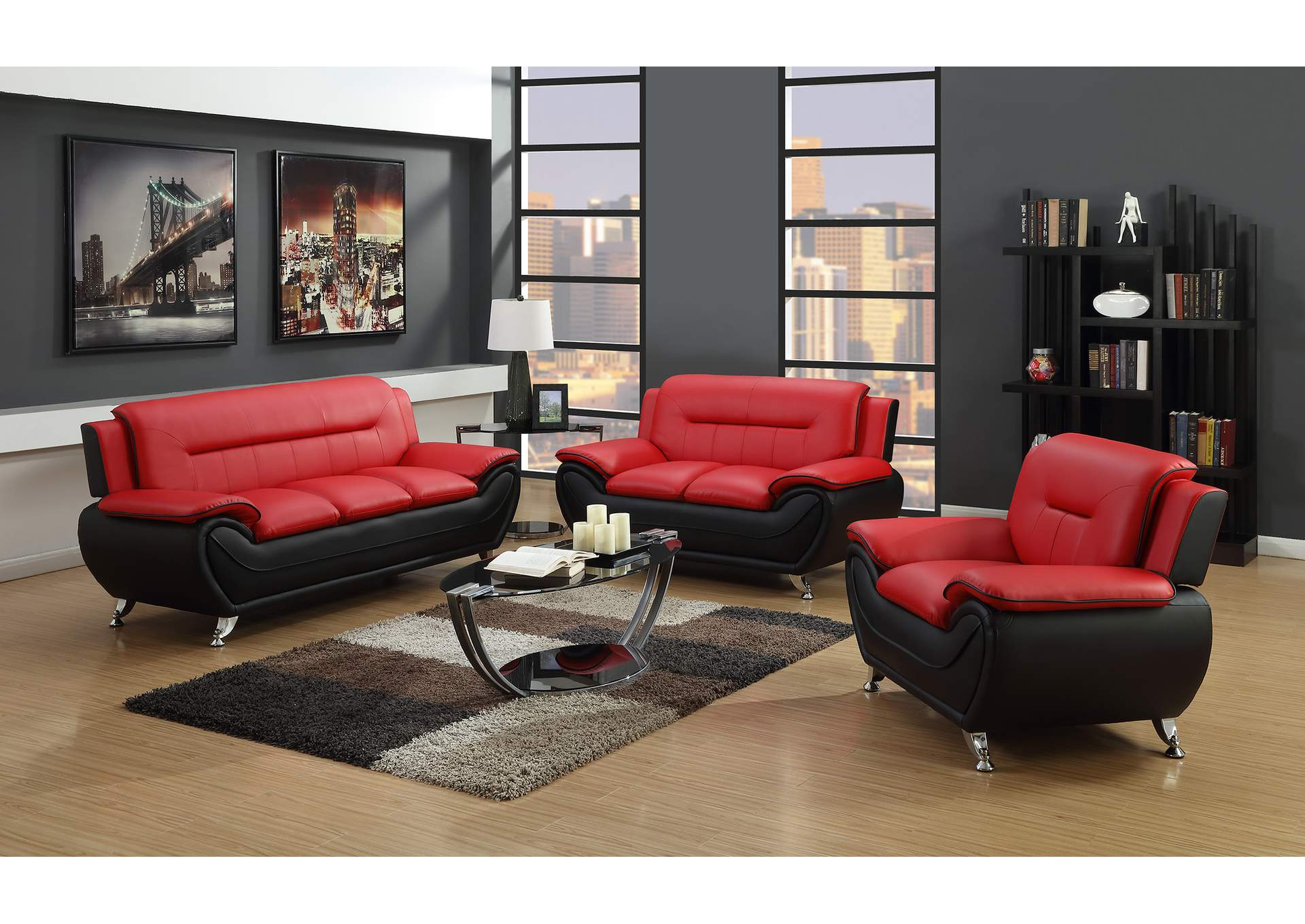 Red on black sofa loveseat chairglobal trading