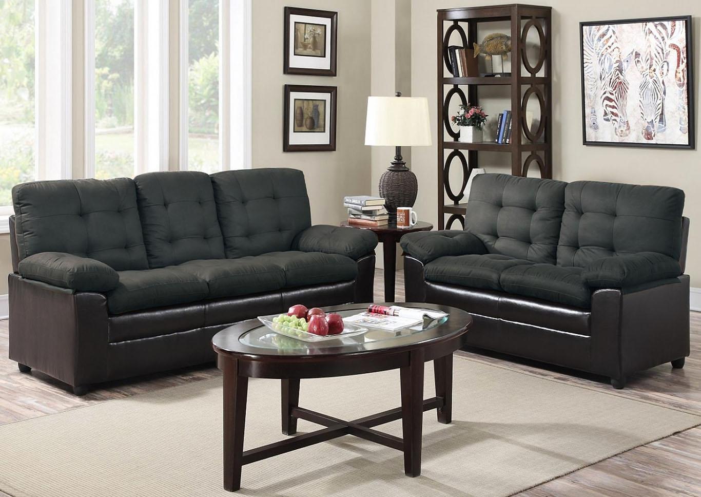 Grey Microfiber Sofa And Loveseat,Global Trading