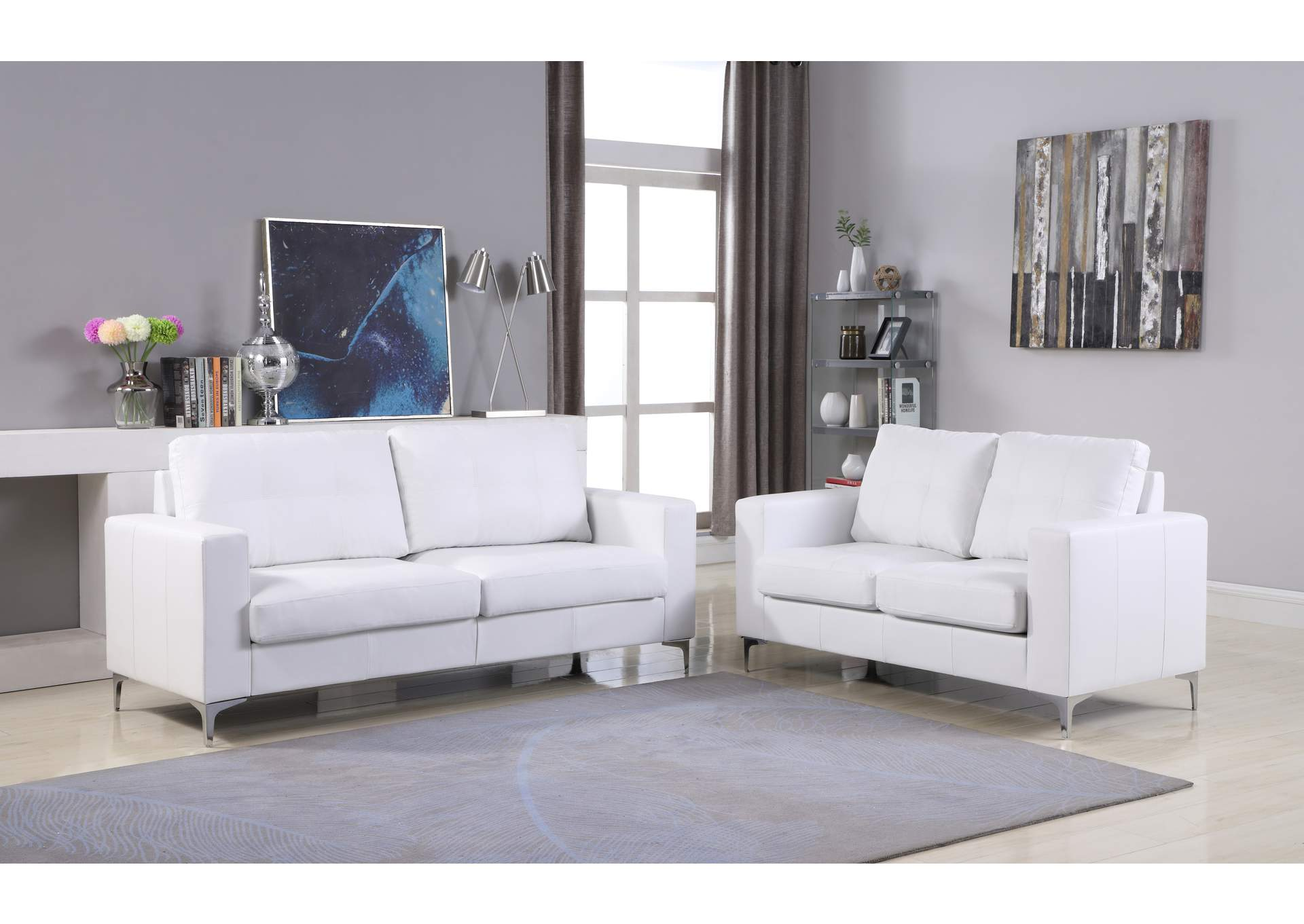 White Contemporary Leather Loveseat (White) With Chrome Leg,Global Trading