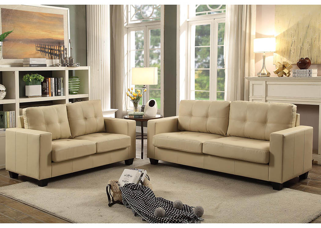 Ivory Contemporary Faux Leather Sofa,Global Trading