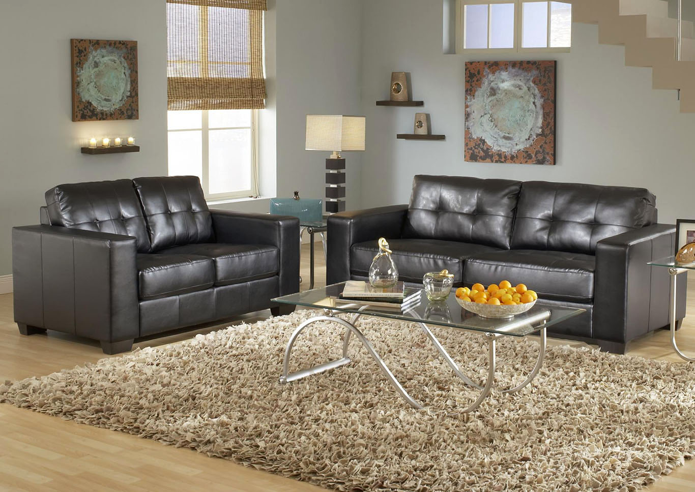 Brown Contemporary Leather Sofa & Loveseat,Global Trading