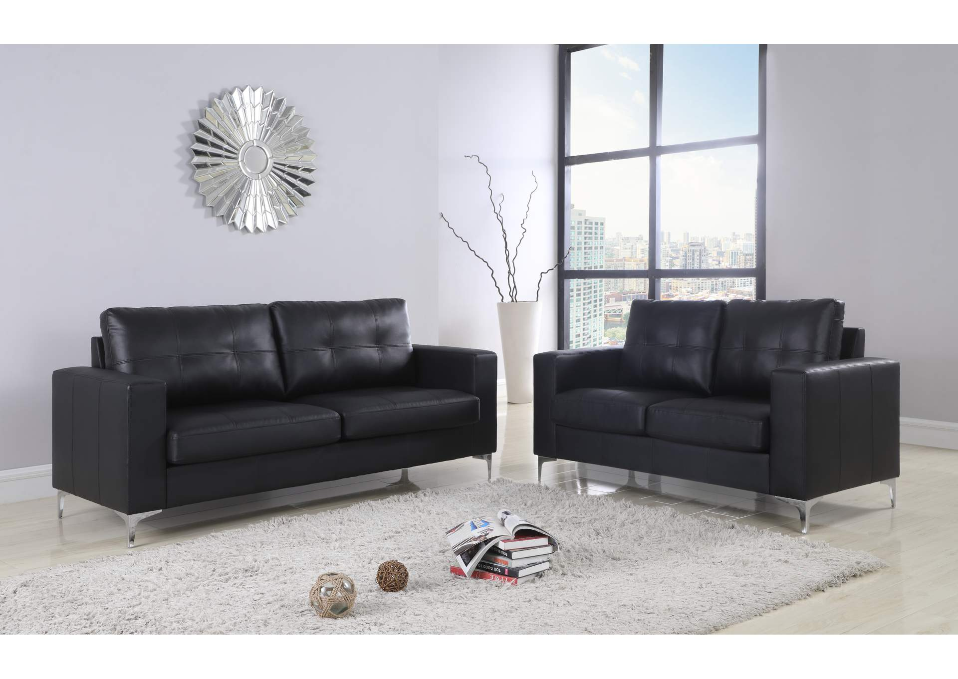 Black Contemporary Leather Sofa With Chrome Leg,Global Trading