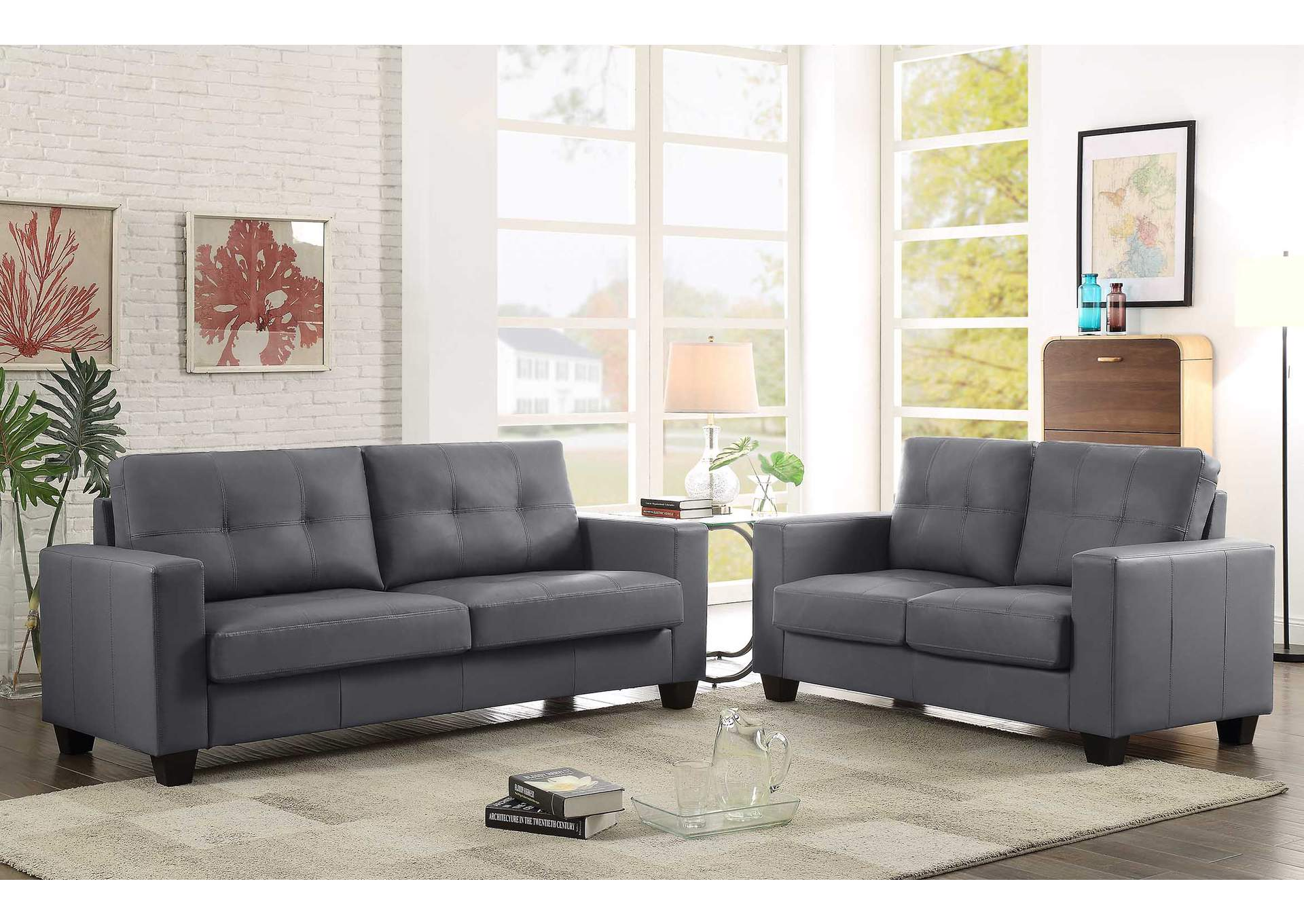 Grey Contemporary Leather Sofa & Loveseat,Global Trading