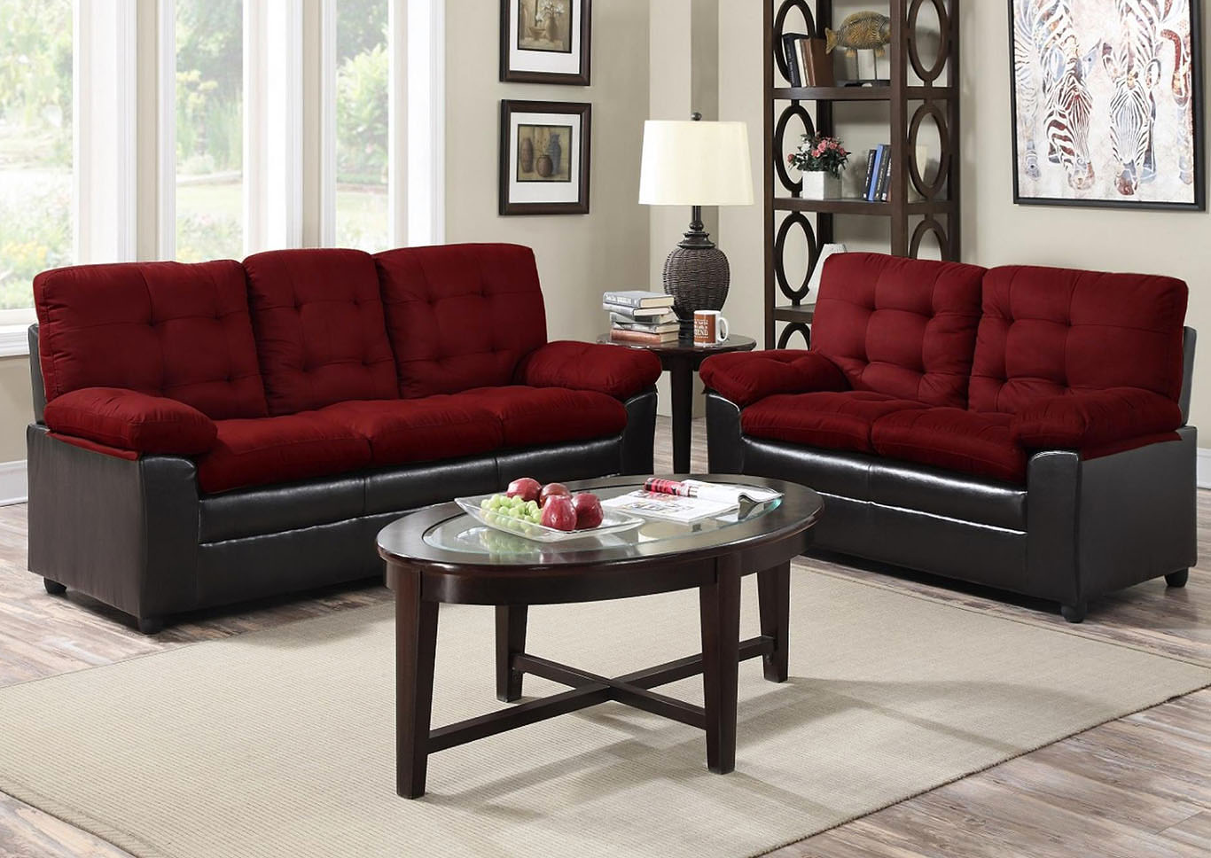 614343 Burgundy Microfiber Sofa and Loveseat